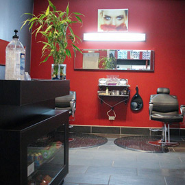 Hair Salon Red Wall